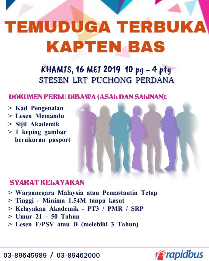 Temuduga Terbuka 2019 di Prasarana Malaysia Berhad