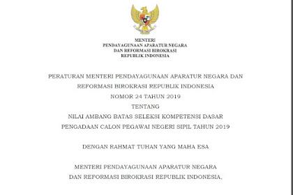 Nilai Ambang Batas CPNS Berdasarkan PERMENPAN RB Nomor 24 Tahun 2019