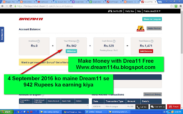 4 September 2016 ko mujhe Dream11 se 942 Rupees ka earning hua hai-see screenshot