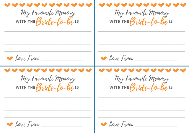 Free printable hen party memory card - in orange