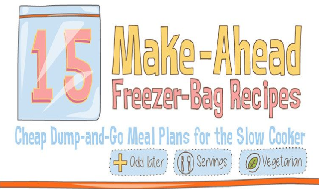 15 Make-Ahead Freezer Bag Meal Recipes #infographic