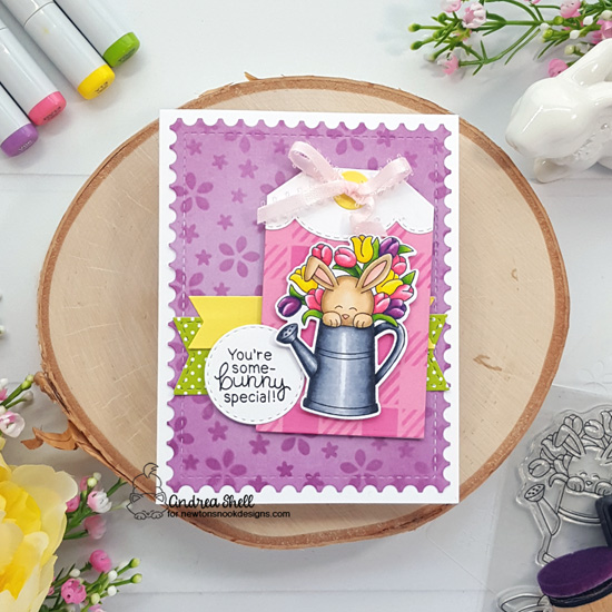 Some-bunny Special Card by Andrea Shell | Hop Into Spring Stamp Set, Fancy Edges Tag Die Set, Gingham Stencil and Petite Flowers Stencil by Newton's Nook Designs #newtonsnook #handmade