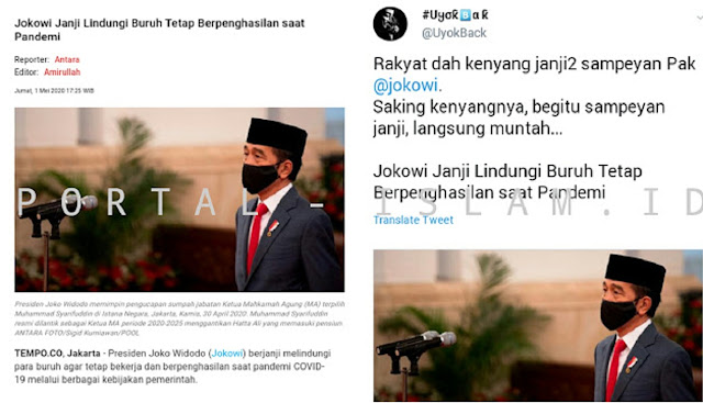 Jokowi Janji Lindungi Buruh Tetap Berpenghasilan saat Pandemi, Warganet: Sudah Kenyang Sama Janji Sampeyan, Saking Kenyangnya Sampai Muntah