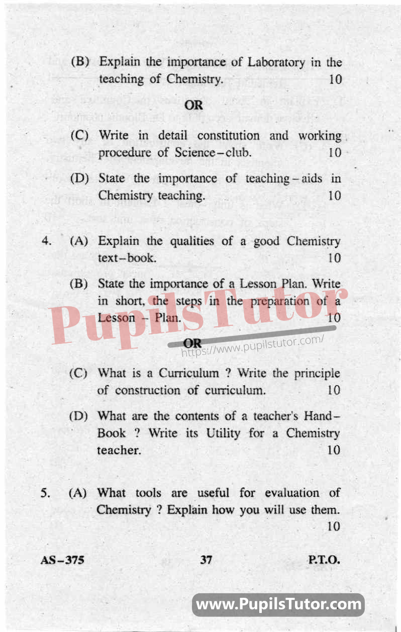 Teaching Of Chemistry Question Paper In English