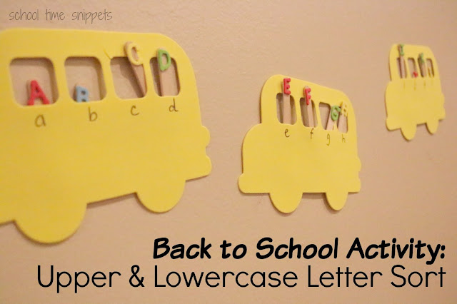 Back to School Activity for Toddlers, Preschoolers, and Kindergarten students!  Upper and Lowercase Letter Sort-- get the letters off to school by helping them sit in the right seat on the school bus!
