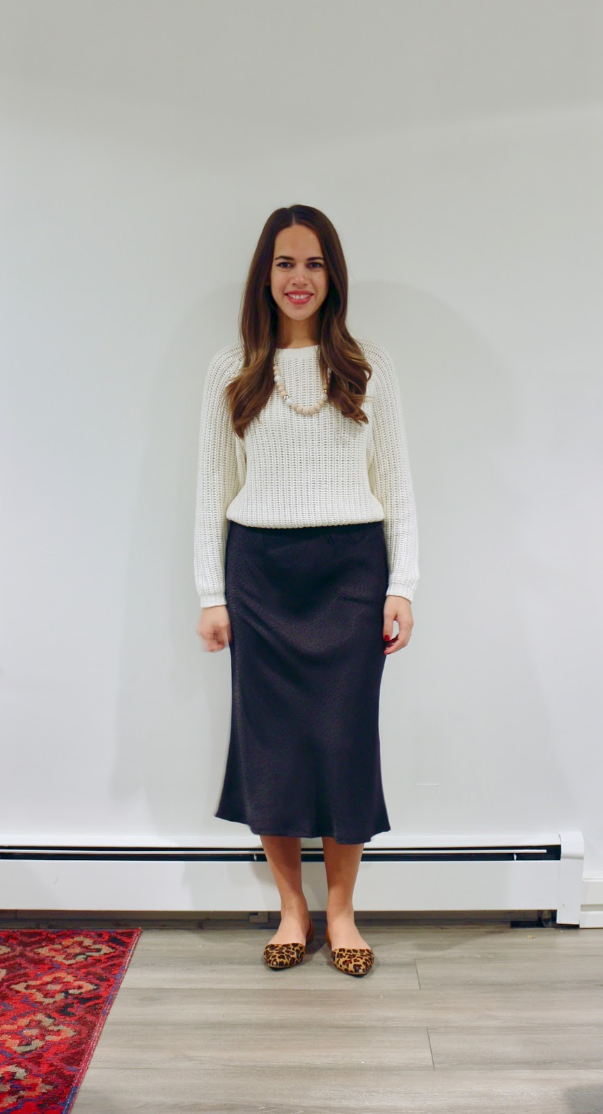 Jules in Flats - H&M Jacquard Silky Midi Skirt with Cropped Knit Sweater (Business Casual Fall Workwear on a Budget)