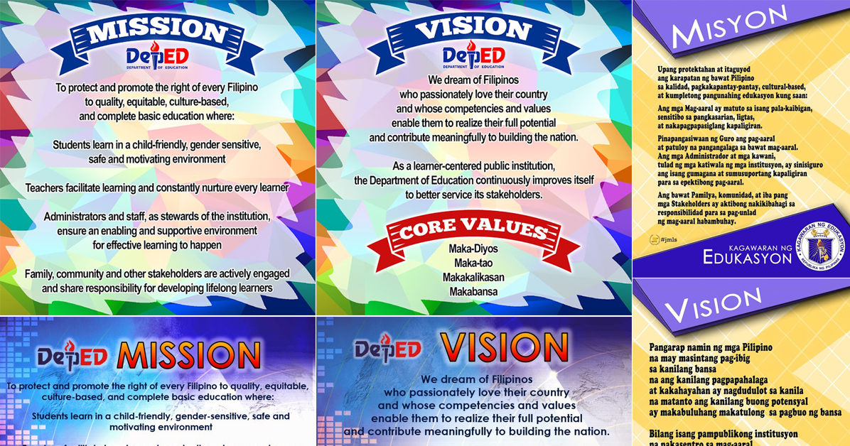 deped vision  mission  and core values  new designs