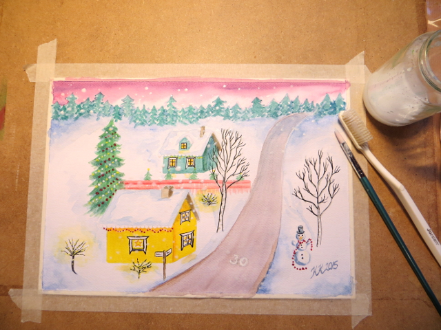 Christmas Card Scenery Painting Joulukorttimaalaus