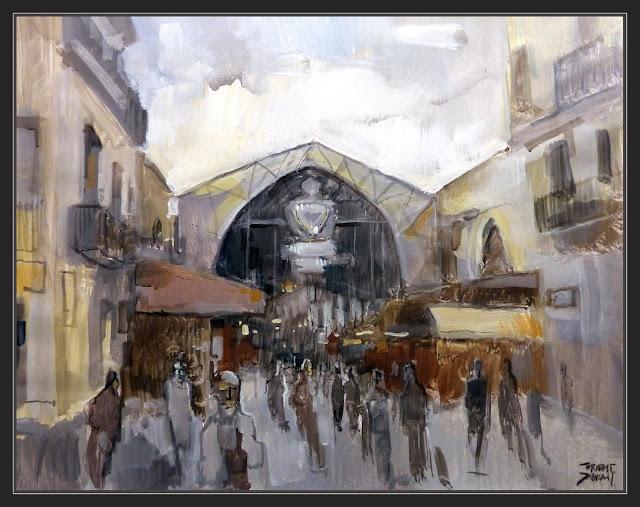 BOQUERIA-MERCAT-PINTURA-BARCELONA-ART-MONUMENTS-MERCATS-CATALUNYA-PAISATGES-RAMBLAS-QUADRES-ARTISTA-PINTOR-ERNEST DESCALS-
