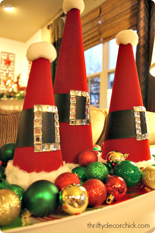 DIY Santa hat craft using craft cones