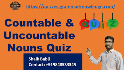 Countable & Uncountable Nouns Quiz