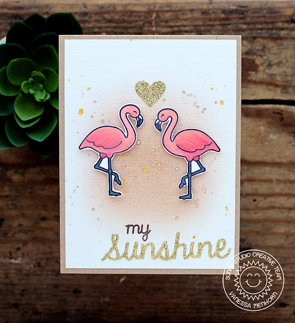 Sunny Studio Stamps: Flamingo Card by Vanessa Menhorn (using Tropical Paradise, Sweet Script, Sunshine Word die and heart from Sunny Borders dies).