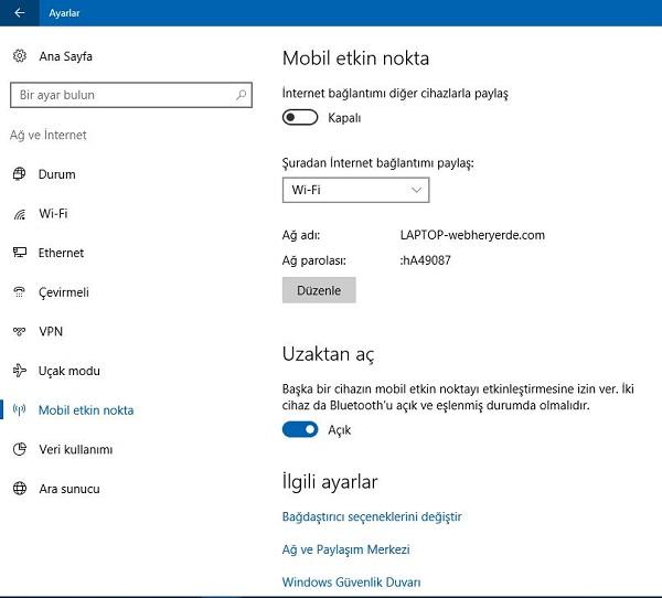 Windows 10 WiFi İnternet Paylaşımı Nasıl Yapılır?