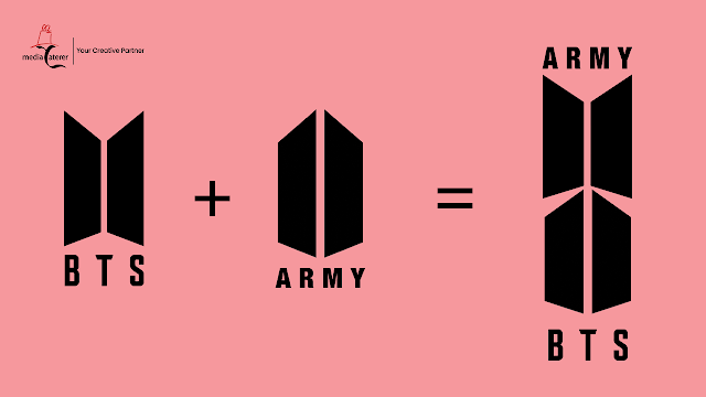 the bts logo and army logo joined together to make up a shield