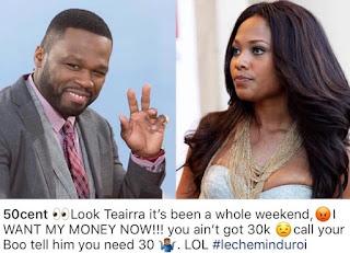 50 Cent Teairra Mari Pay Up $30K