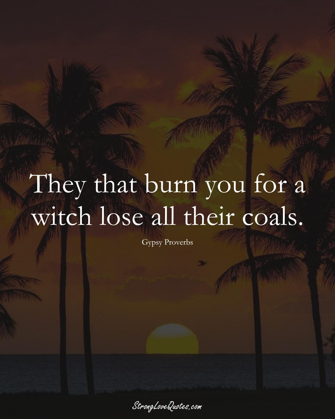 They that burn you for a witch lose all their coals. (Gypsy Sayings);  #aVarietyofCulturesSayings
