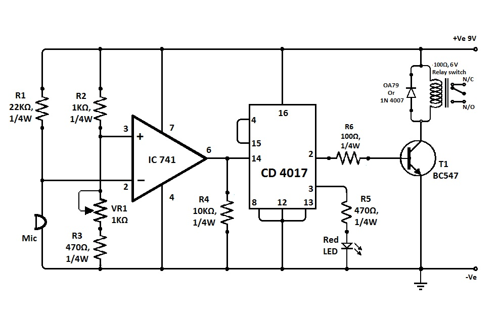 Simple Clap Switch Circuit