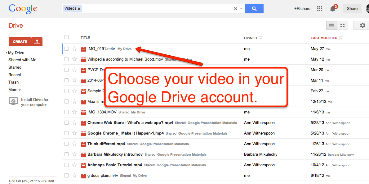 How to share photos via google drive