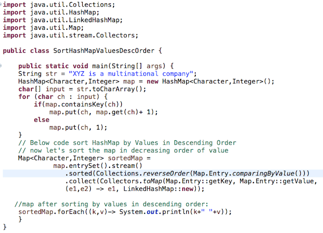 Sort HashMap Values Descending Order