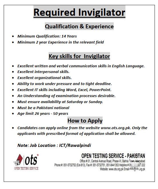Invigilator Jobs in OTS 2020 Online Registration Latest Advertisement