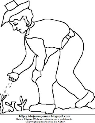 Dibujo del Campesino regando semillas para colorear, pintar o imprimir. Dibujo del Campesino hecho por Jesus Gomez