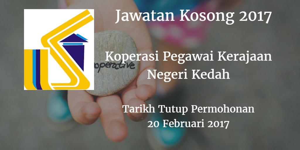 Jawatan Kosong Koperasi Pegawai Kerajaan Negeri Kedah 20 Februari 2017