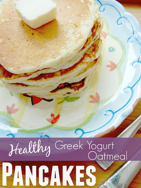 healthy greek yogurt oatmeal pancakes #sweetsavoryeats