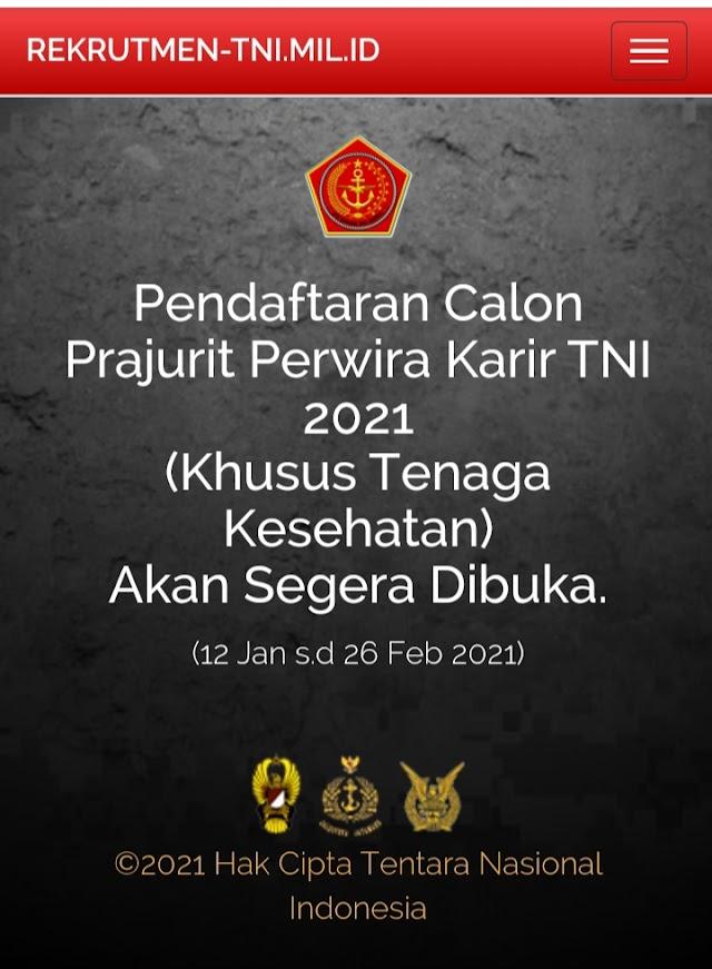 Mabes TNI Membuka Pendaftaran Calon Perwira Prajurit Karir (Khusus Tenaga Kesehatan) Tanggal 12 Januari – 26 Februari 2021