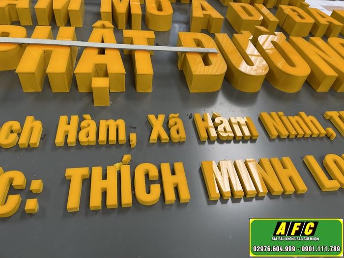 Thi công bảng hiệu Alu chữ Mica nổi Tịnh Thất Phú Quốc