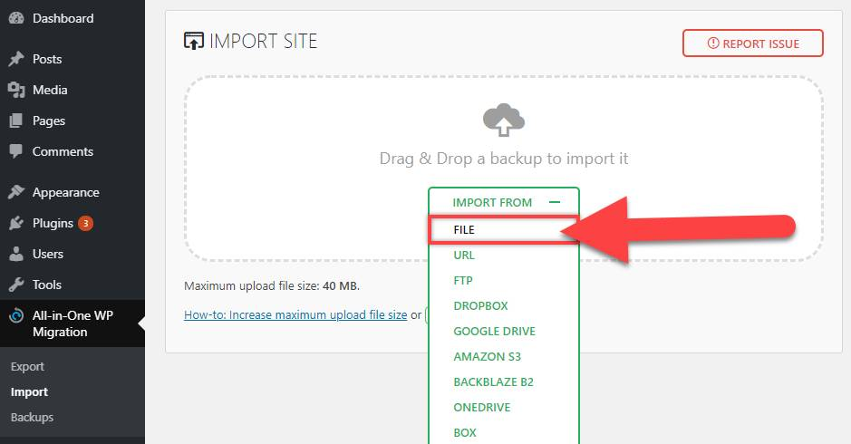 Import Website