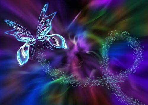 Borboleta abstrata fractal de luzes. #PraCegoVer