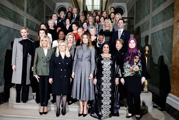 Princess Charlene wore a Houndstooth one button wool coat by GIVENCHY. Duchess Maria Teresa, Brigitte Macron