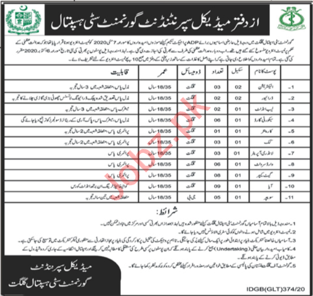 Government City Hospital Gilgit, Health Department, Pakistan jobs 2020