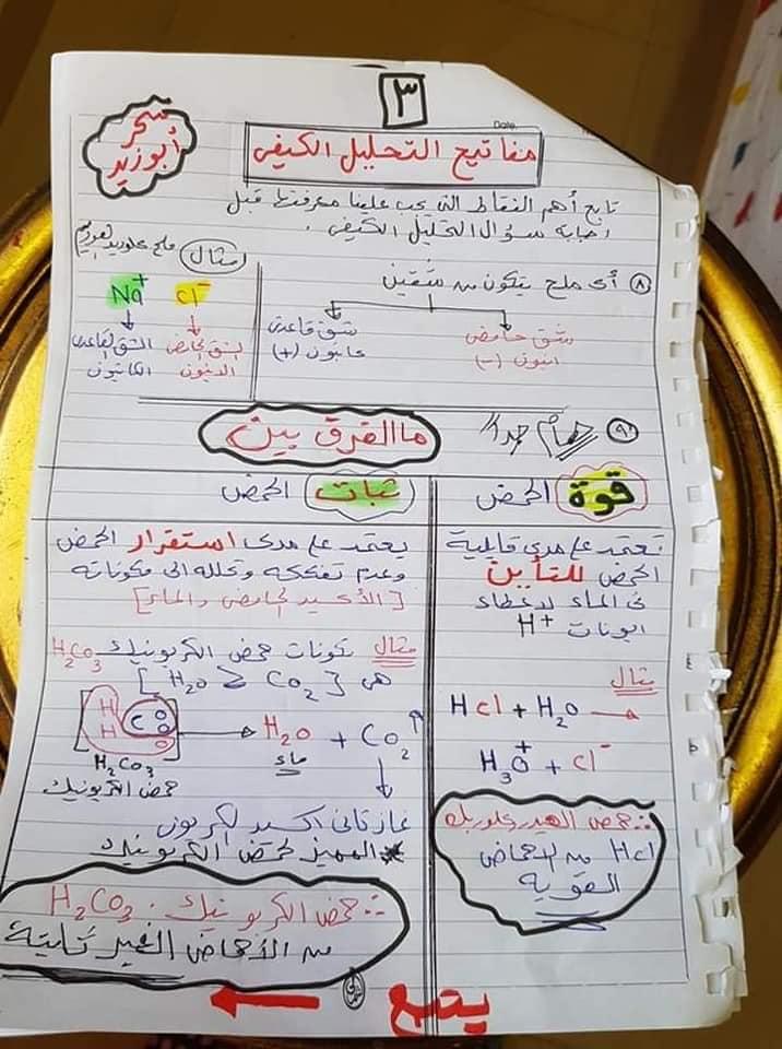 مفاتيح اجابه سؤال التحليل الكيميائي الكيفي للصف الثالث الثانوي أ/ سحر أبو زيد 3