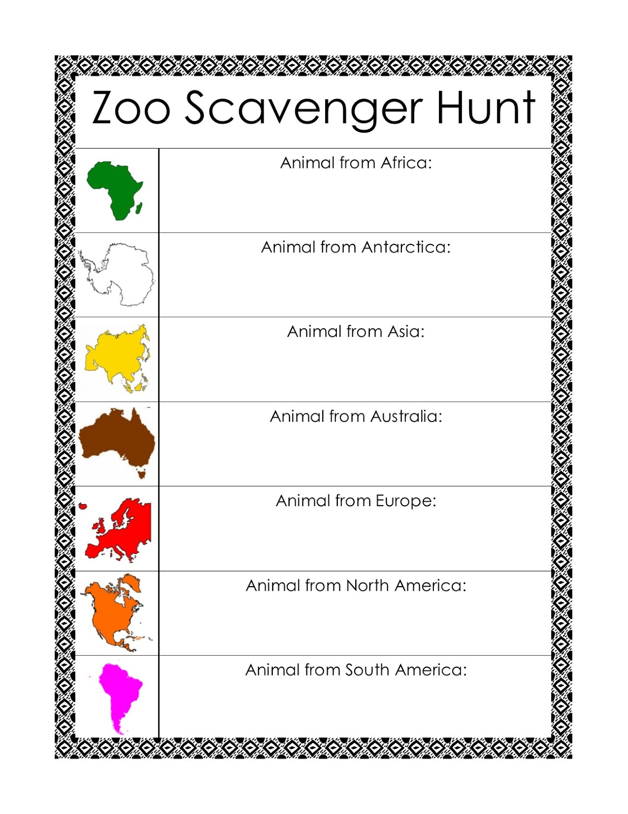 graphic regarding Zoo Scavenger Hunt Printable identified as Montessori-Encouraged Zoo Scavenger Hunts w/ Free of charge Printables