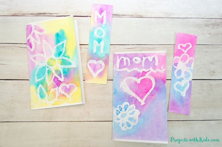 Mother's Day watercolour card for kids to make