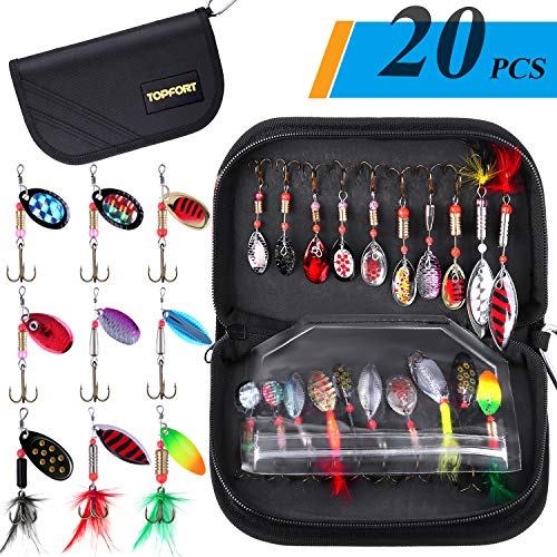 With Free Tackle ❤ Fishing Lure Kit For Freshwater Saltwater Trout Bass Salmon
