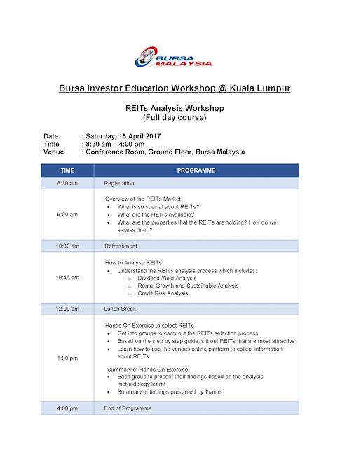 Bursa Investor Education Workshop (BIEW) REITs Analysis Workshop KL Malaysia