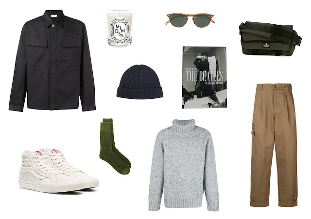 a menswear outfit collage featuring items available on farfetch for the black friday sale