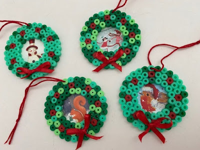 Hama bead mini wreath ornament tutorial