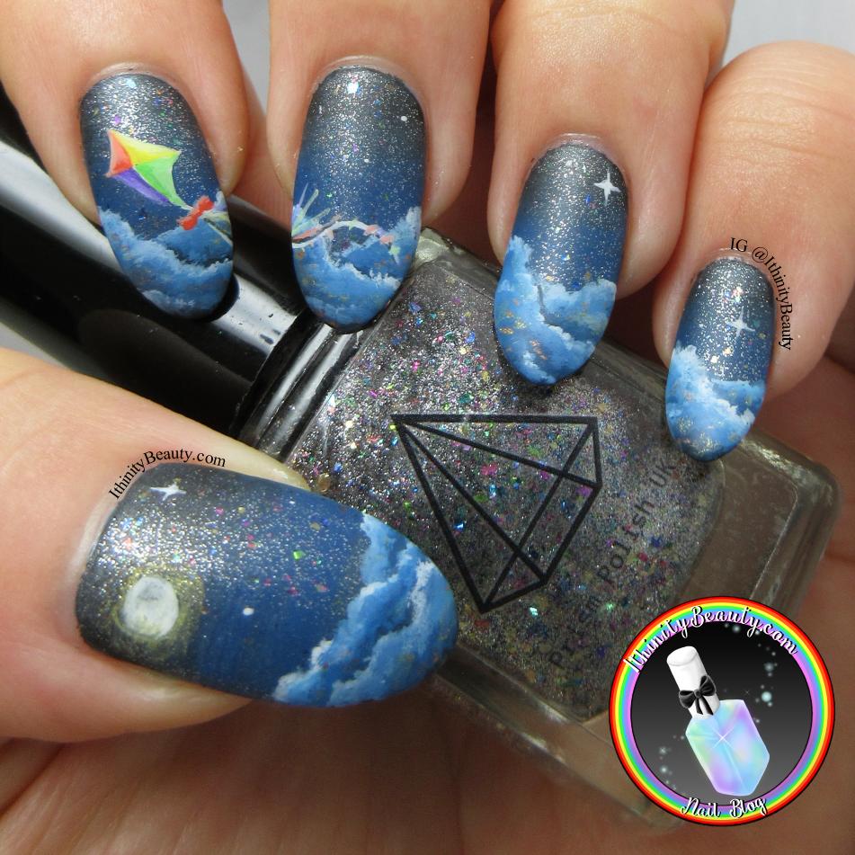 Fly Away Kite Nail Art | IthinityBeauty.com Nail Art Blog