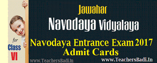 Navodaya 6th entrance exam,Admit Cards,Hall tickets