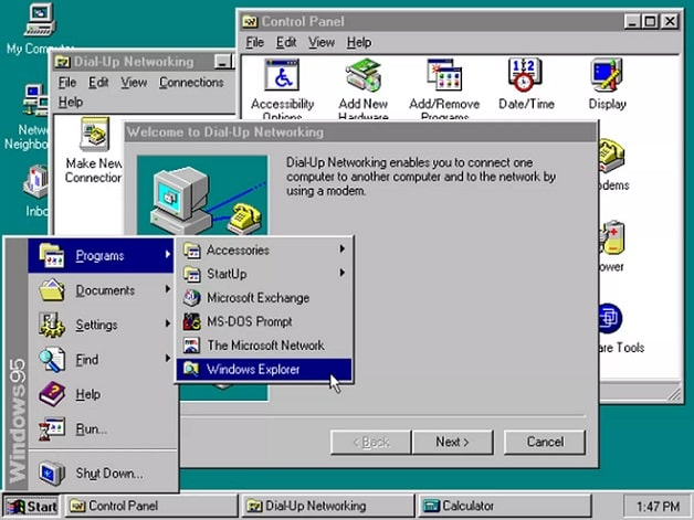 Tampilan Windows 95 | Gaptogeek