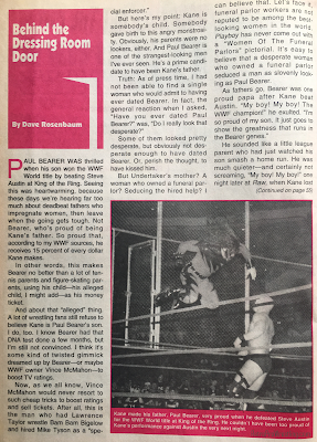 Inside Wrestling  - November 1998 - Dave Rosenbaum writes about Paul Bearer being Kane's dad
