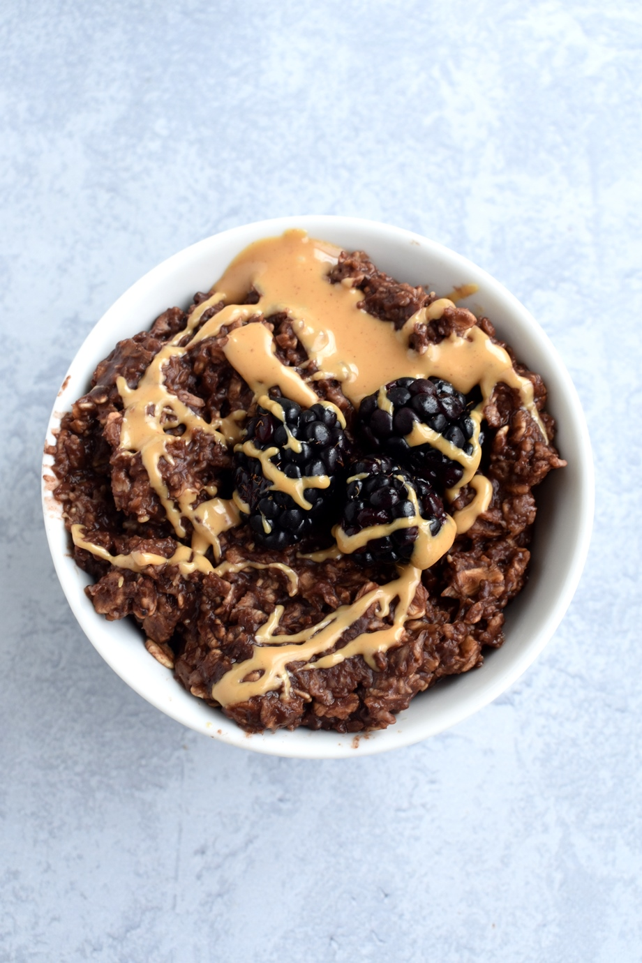 Chocolate Peanut Butter Oatmeal with blackberries