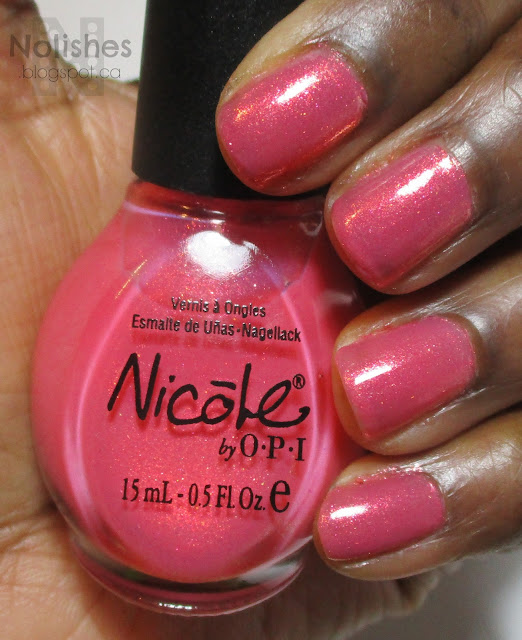 Swatch of Nicole by OPI 'You're an Angel', a warm-toned, golden-pink shimmer polish
