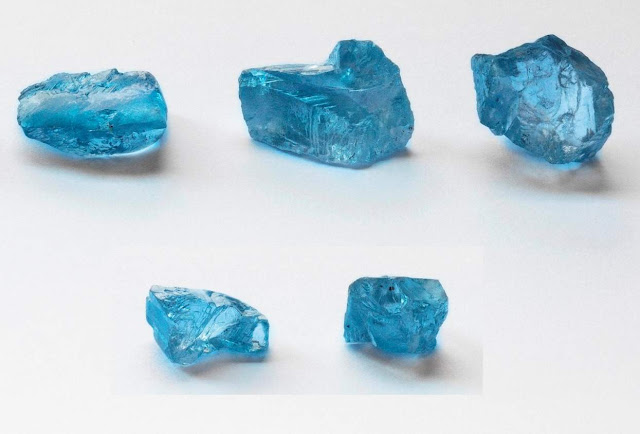 The five blue diamonds recovered at Cullinan in Sep. 2020, all in the space of one week's production. (Image: Petra Diamonds.)