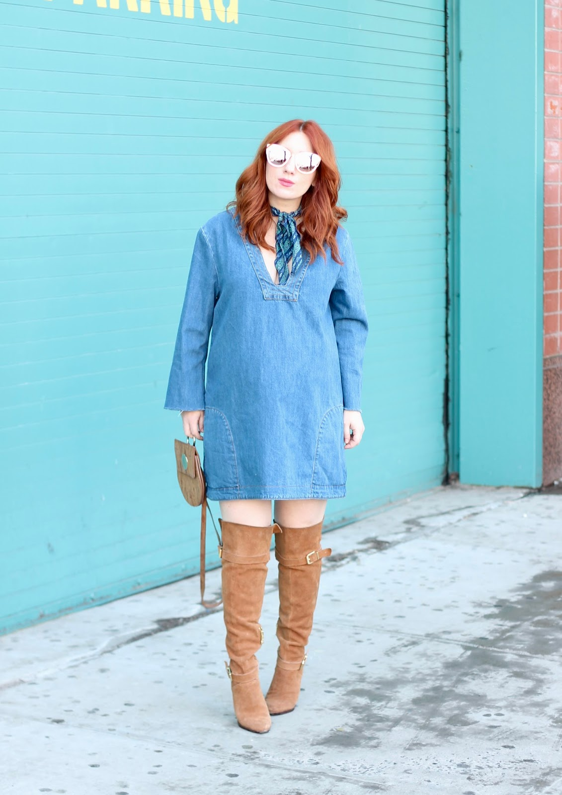 b46419bb7fc Denim Tunic and Over The Knee Boots