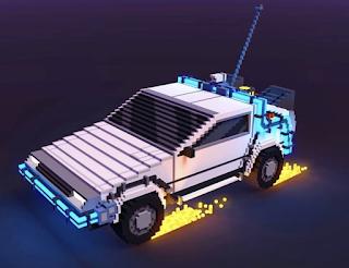 Voxel DeLorean Time Machine Car