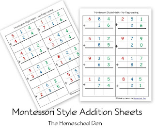 http://homeschoolden.com/2014/05/06/free-montessori-style-addition-sheets-and-place-value-activities/